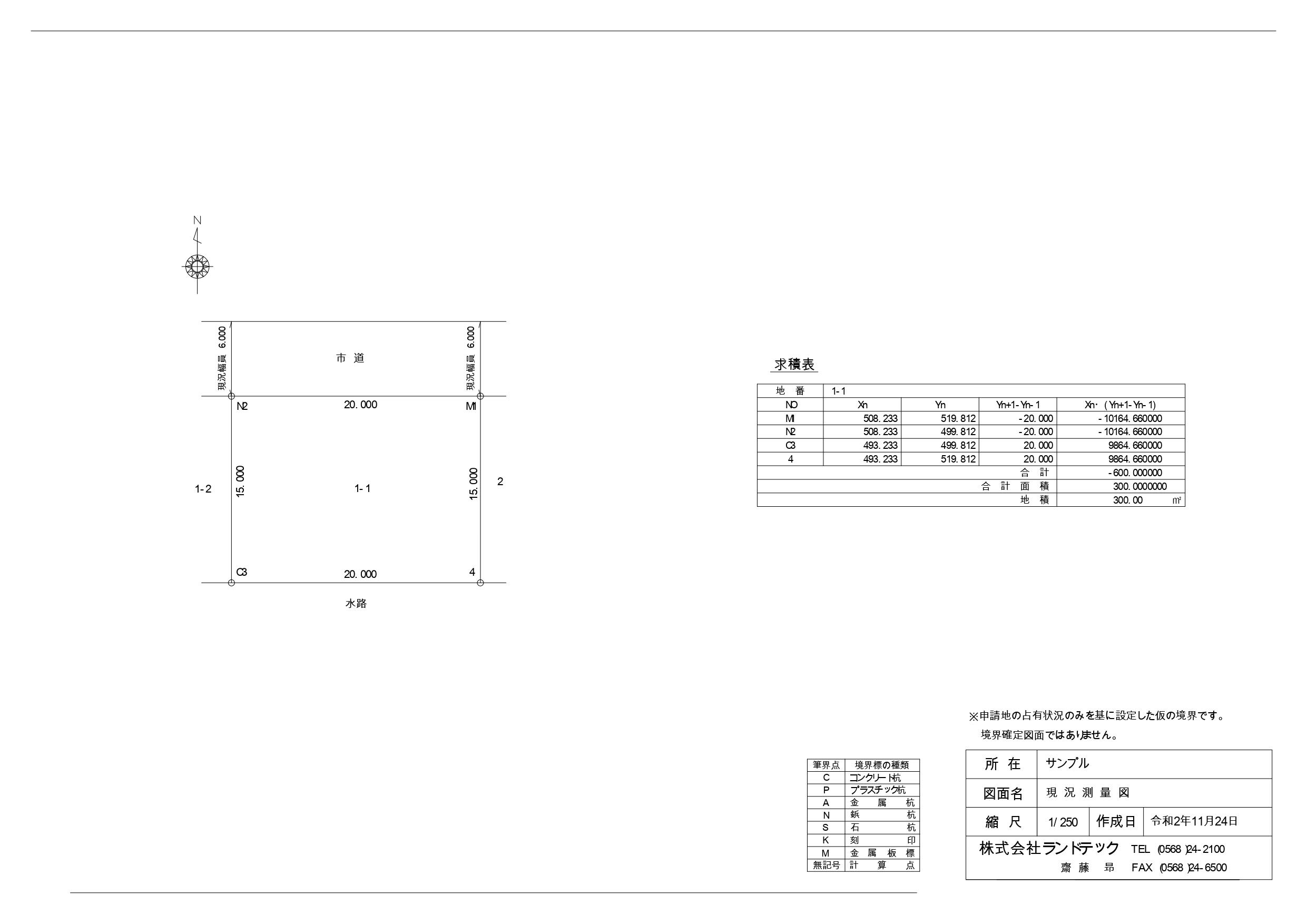 現況測量図(サンプル)